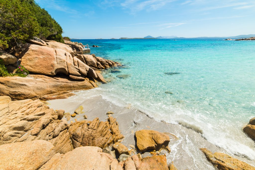 rocks in Capriccioli beach in Costa Smeralda, Italy